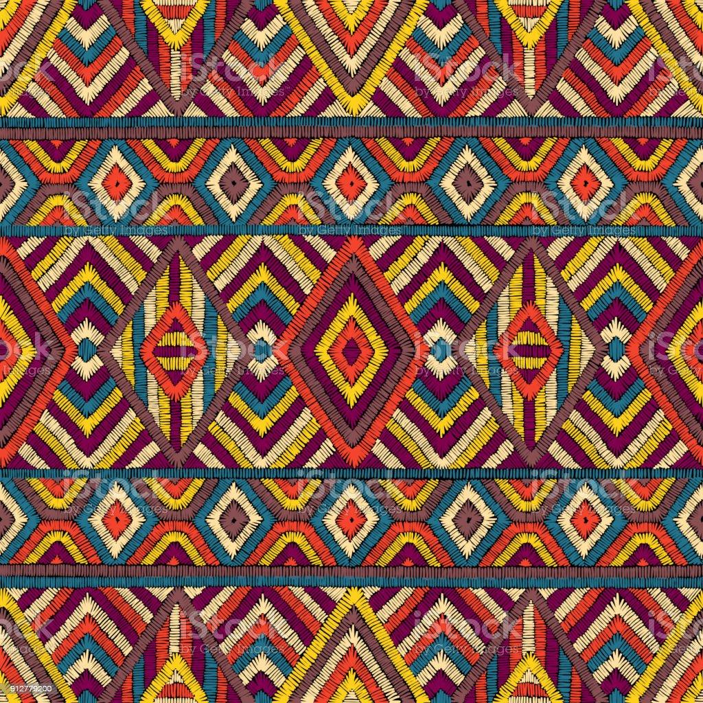 Bordado sin fisuras patrón geométrico. - ilustración de arte vectorial