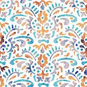 istock Embroidered seamless pattern. 1283758979