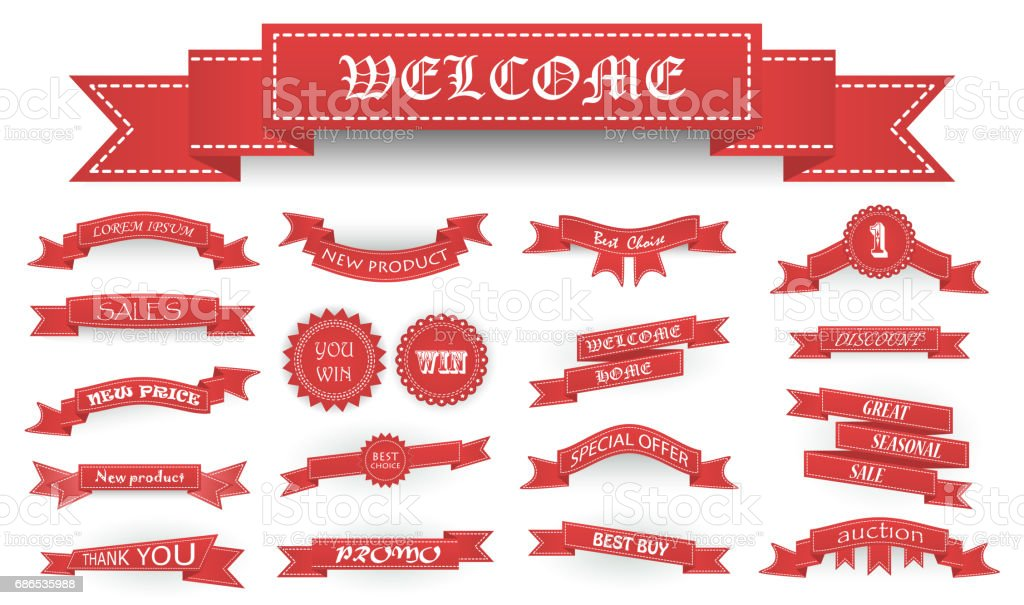 Embroidered soft red vintage ribbons and stumps with business text and shadows isolated on white. Can be used for banner, award, sale, icon, logo, label etc. Vector illustration vector art illustration