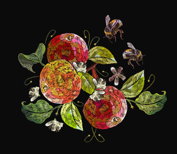 Embroidery apples and bumblebees. Fashion nature template for clothes, textiles, t-shirt design. Classical embroidery ripe apples on  branch, summer art vector art illustration