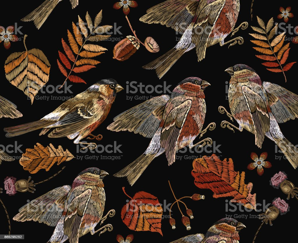 Embroidery autumn and birds seamless pattern. Fashionable template for design of clothes, t-shirt design. Classical september embroidery autumn leaves, bullfinch and titmouse. vector art illustration