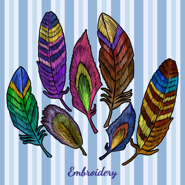 ilustrações de stock, clip art, desenhos animados e ícones de embroidery beautiful feathers of tropical birds collection. color feathers embroidery fashionable template for design of clothes, t-shirt design - pena de pássaro algodão