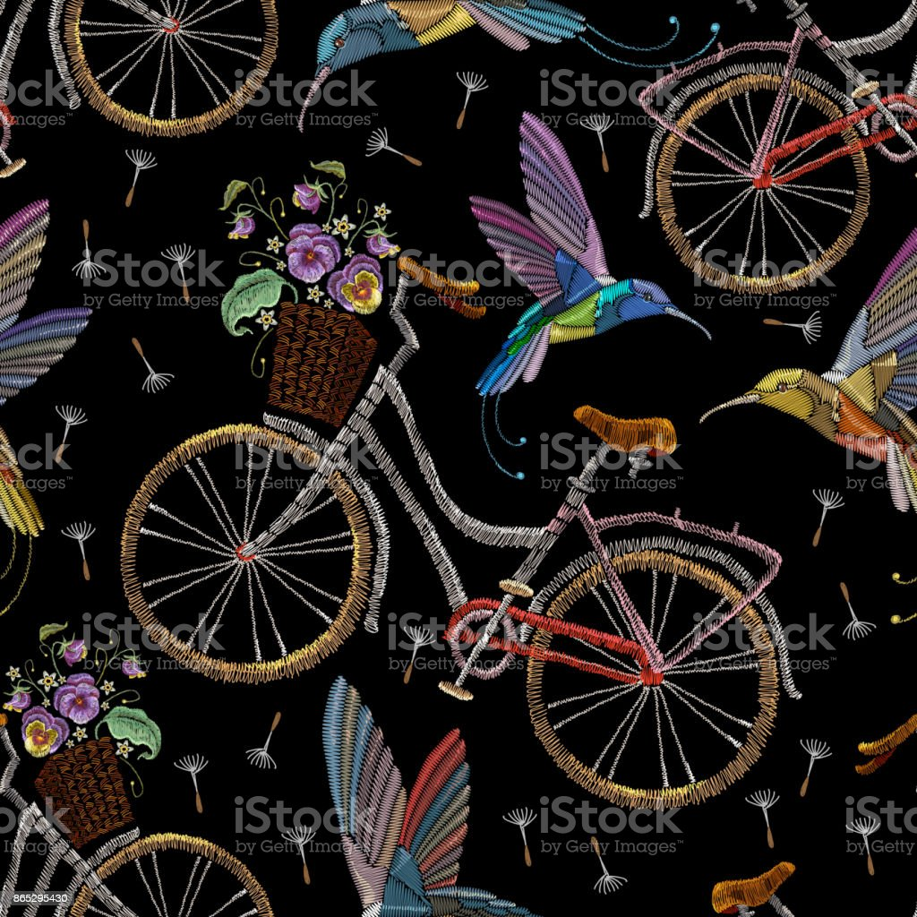 Embroidery bicycle violets flowers and humming birds seamless pattern. Fashionable summer pattern embroidery bicycle humming bird and violets romantic art, template clothes vector art illustration
