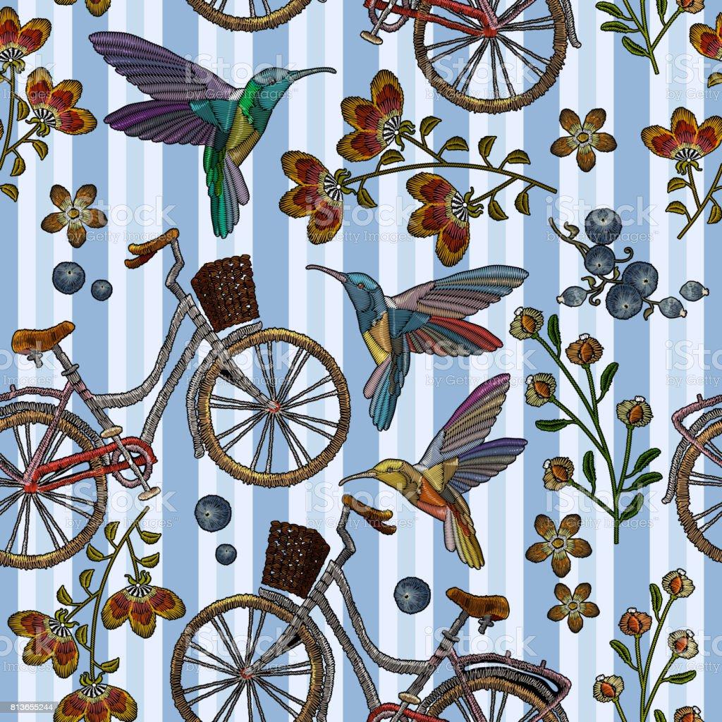 Ilustración de Bicicleta Con Cesta Colibrí Y Flores Patrón En ...