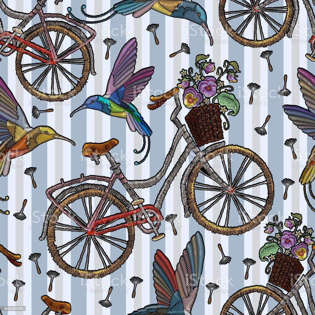Ilustración de Bicicleta De Bordado Con Cesta Colibrí Y Verano ...
