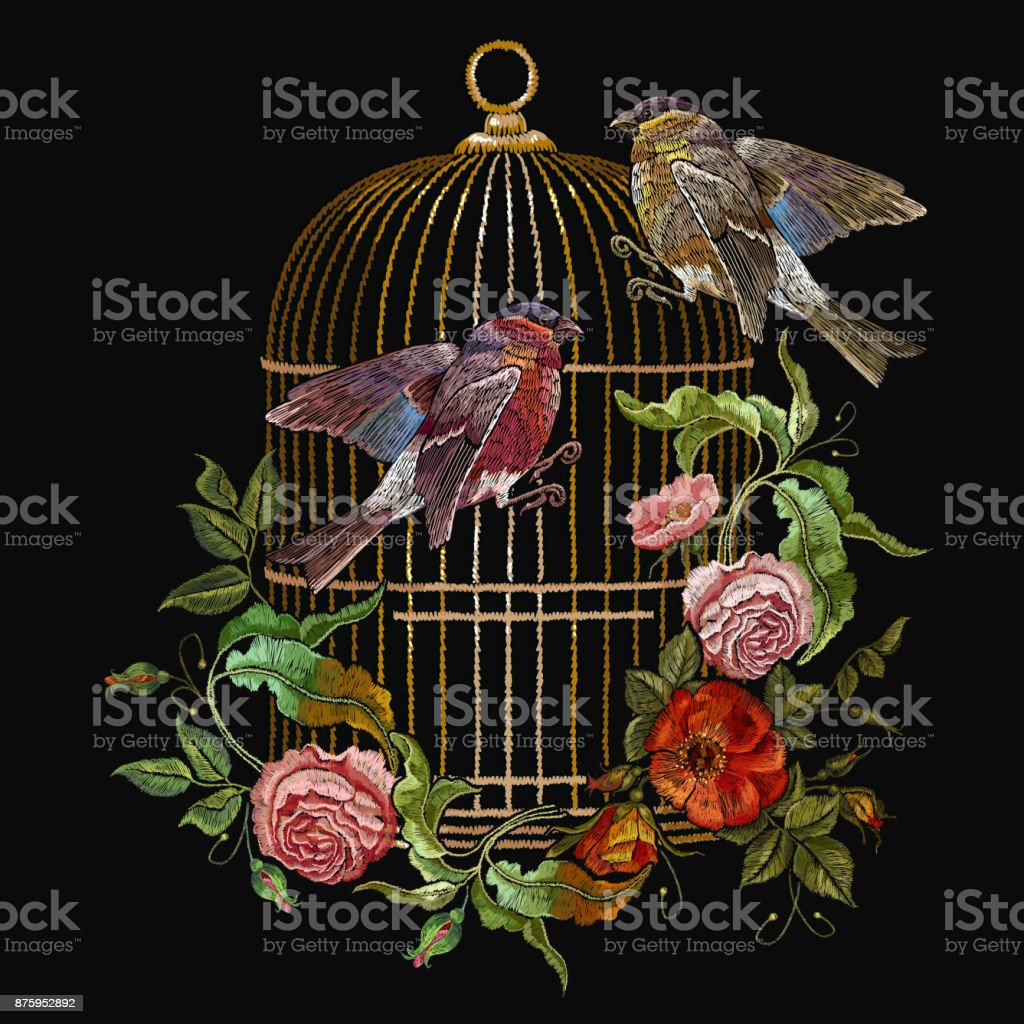 Embroidery birds and birds cage and flowers vector. Classical embroidery bullfinch and titmouse, golden cage, vintage buds of wild roses. Spring fashion art, template for design of clothes, t-shirt vector art illustration