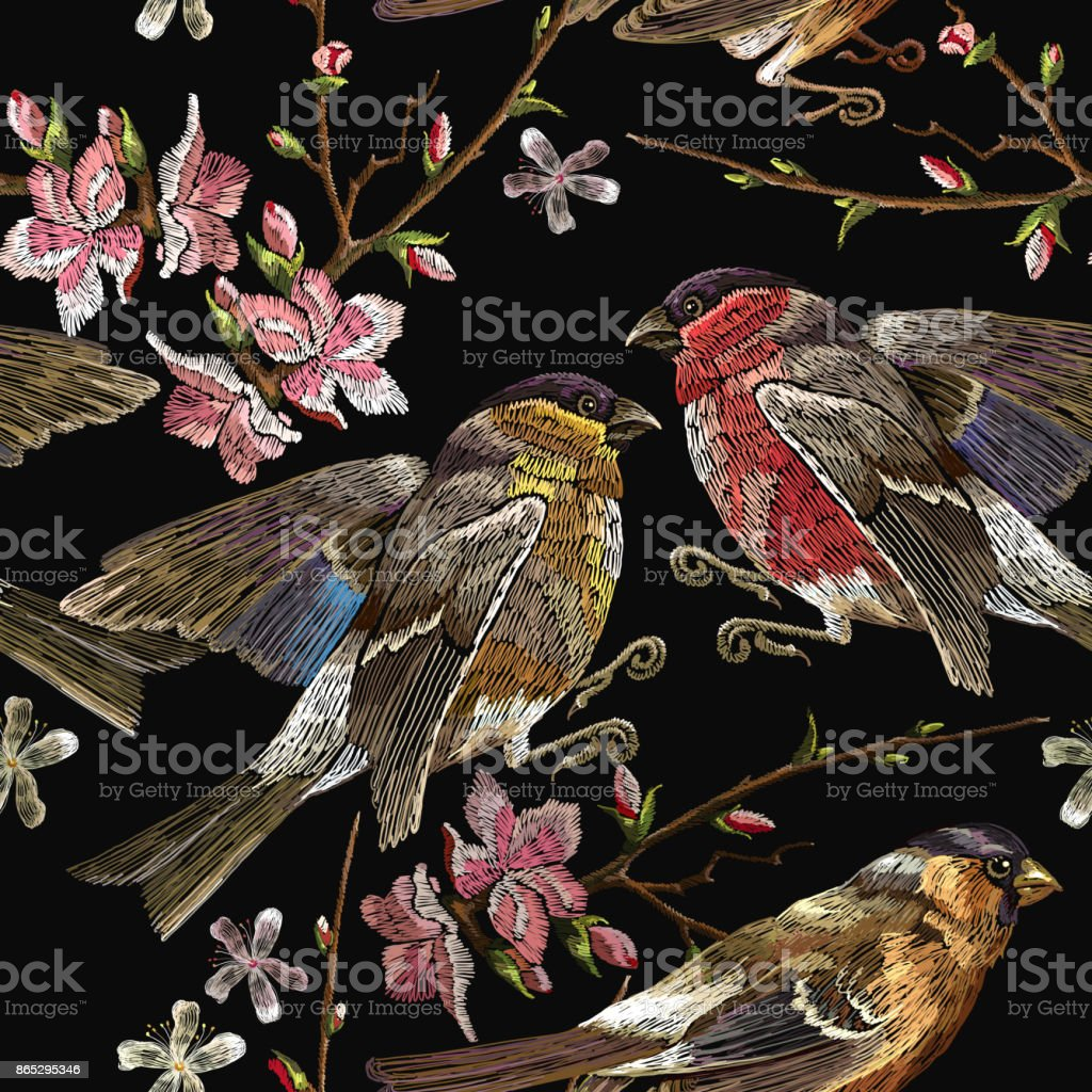 Embroidery birds and blossoming cherry seamless pattern. Classical embroidery bullfinch and titmouse on branch blossoming sakura. Spring fashion pattern, template for design of clothes, t-shirt design vector art illustration