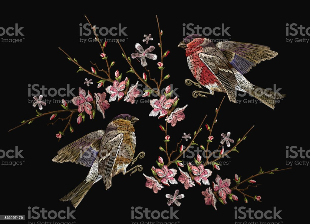 Embroidery birds and blossoming cherry vector. Classical embroidery bullfinch and titmouse on branch blossoming sakura. Spring fashion art, template for design of clothes, t-shirt design vector art illustration