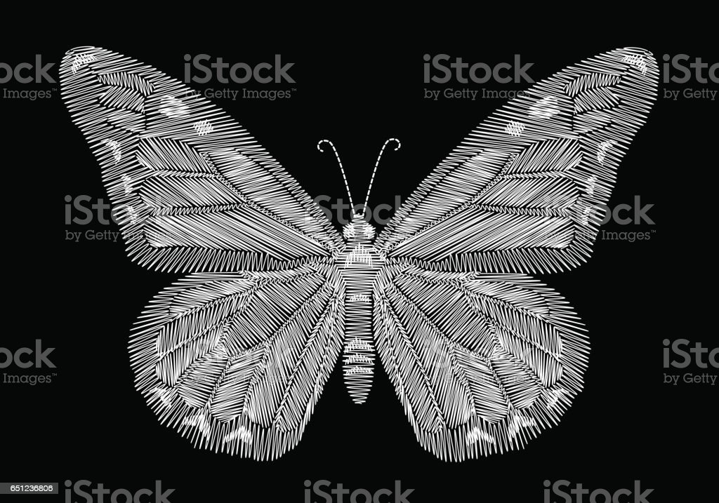 Embroidery Black And White Butterfly Royalty Free Stock Vector Art