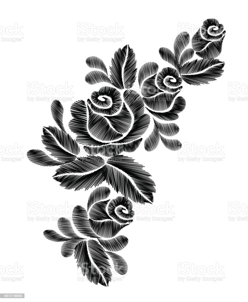 Embroidery Black And White Floral Patch Roses Flowers Stock Vector
