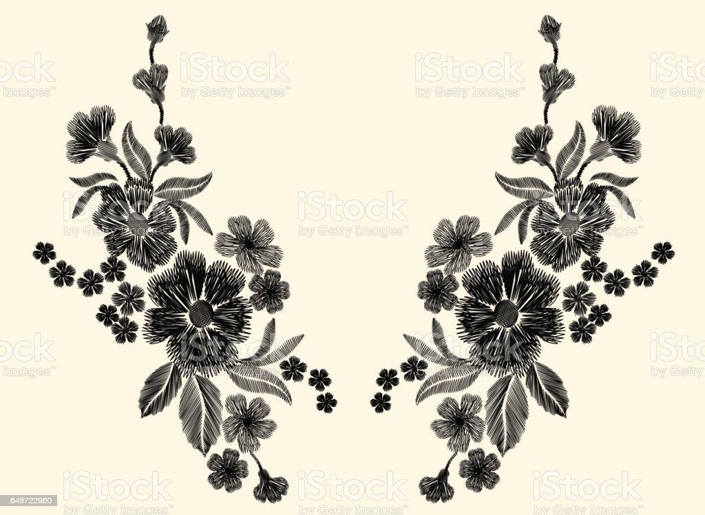 Ilustración de Parche Floral Bordado Blanco Y Negro Con Amapola Y ...