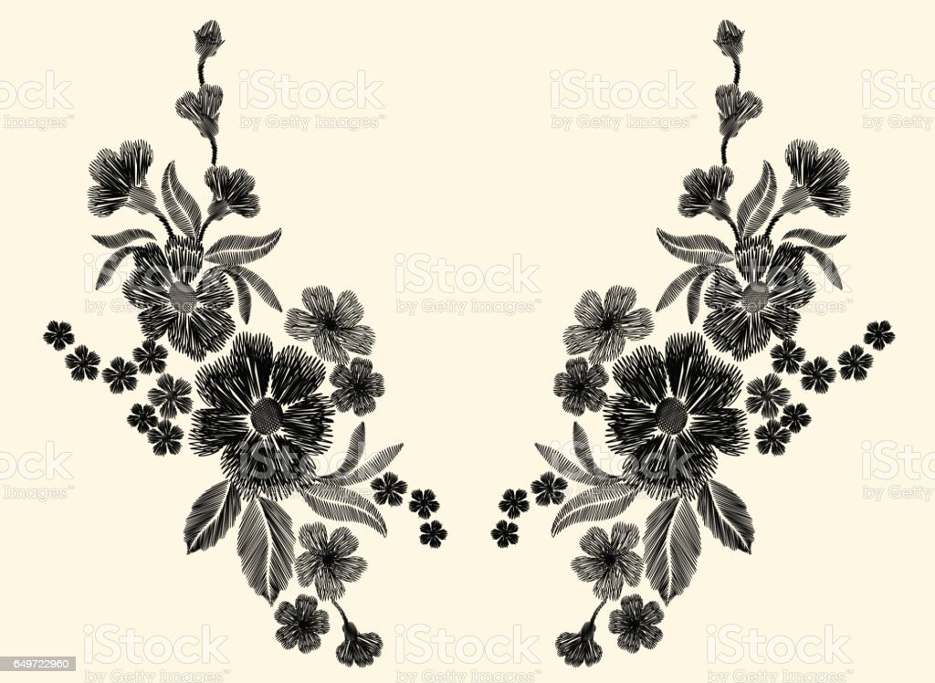 Embroidery black and white floral patch with poppy and daisy paisley flowers vector art illustration