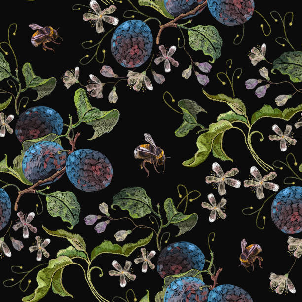 Embroidery blossoming plum and flowers on black background. Template fashionable clothes, t-shirt design vector art illustration