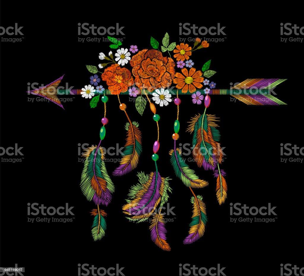 Ilustración de Flores Plumas De Flecha India Nativa Americana De La ...