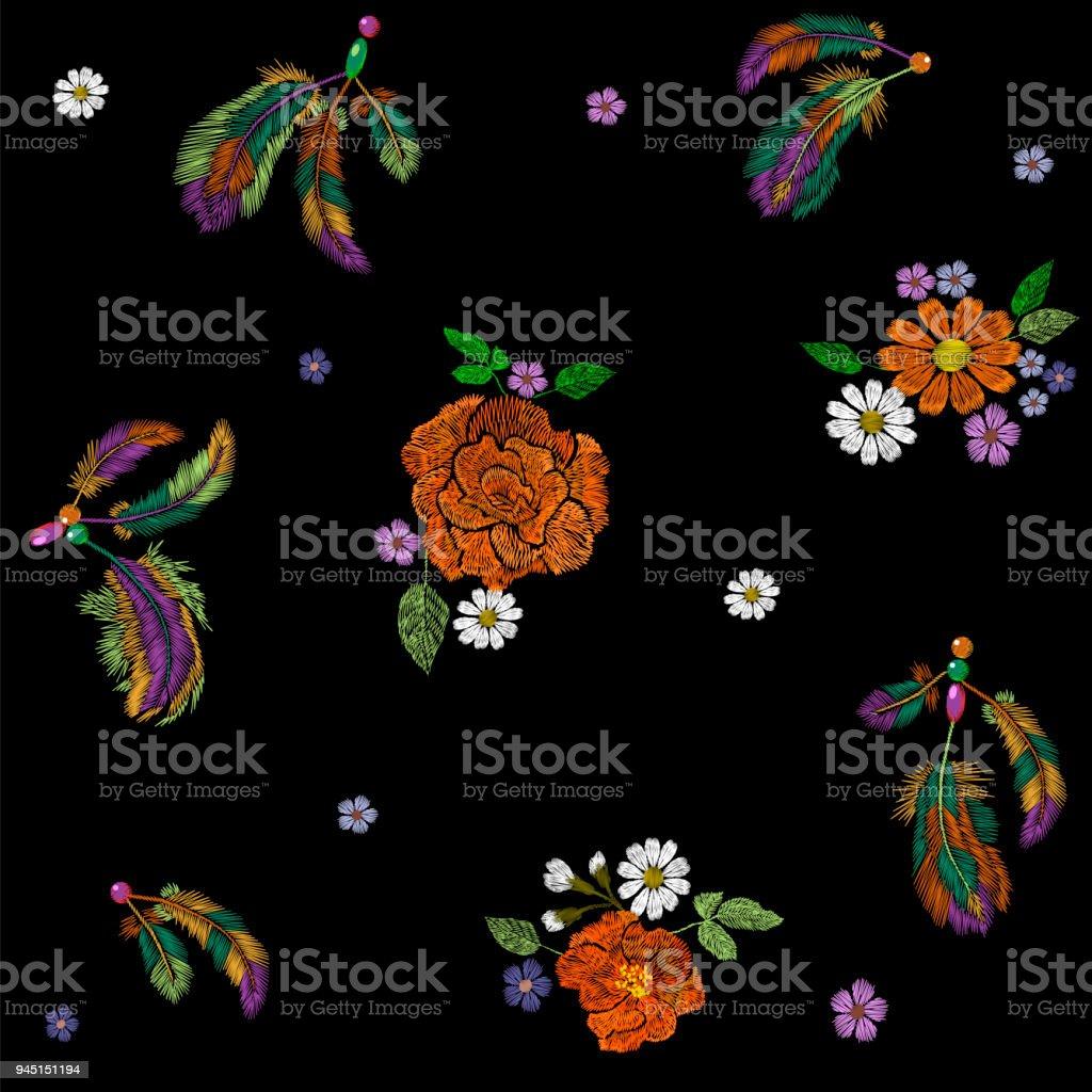 Ilustración de Arreglo De Flores De Plumas De Indio Nativo Americano ...