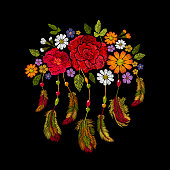Embroidery Boho Native American Indian Feathers Flowers Arrangement Clothes Ethnic Tribal Fashion Design Decoration Patch Seamless Geometric Pattern