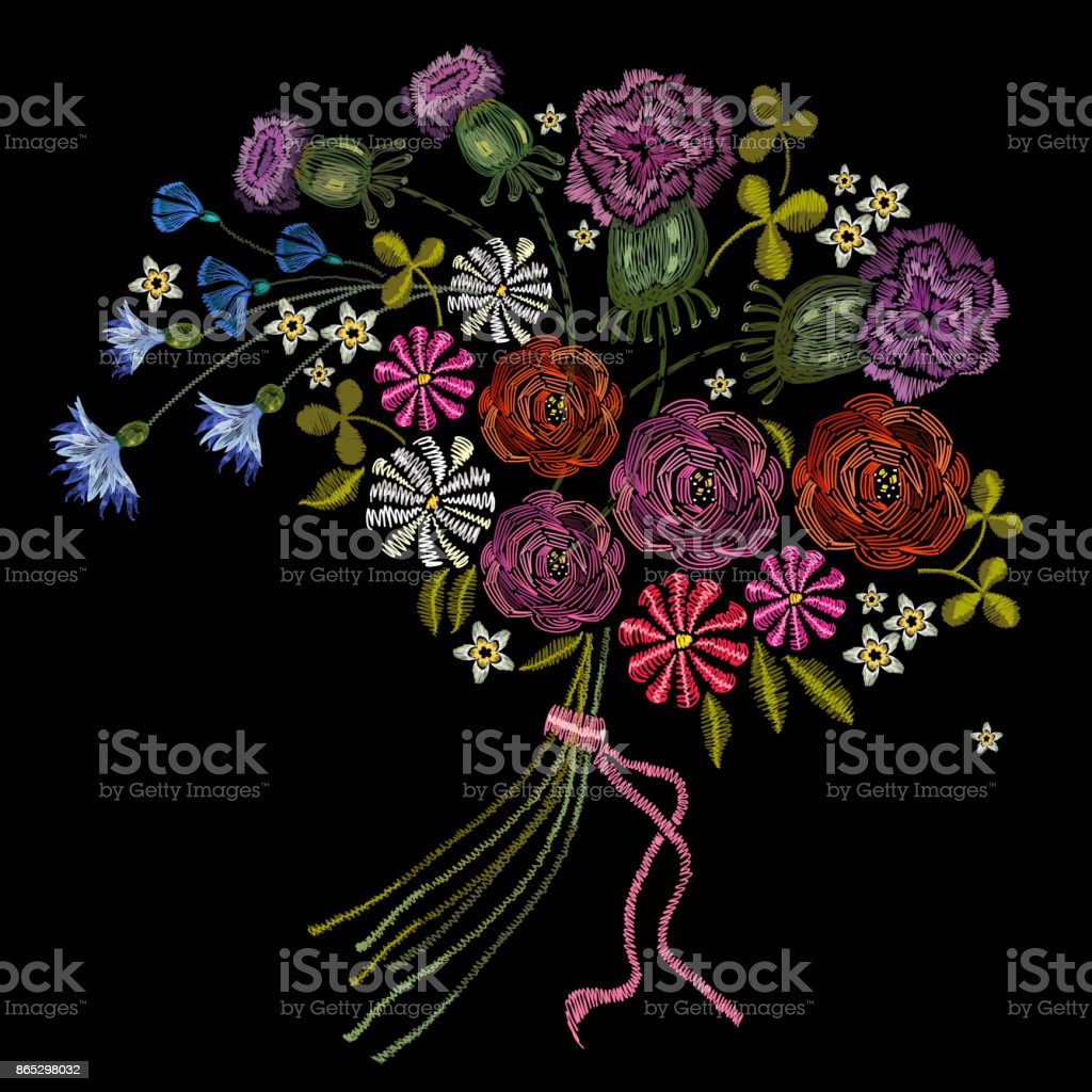 Embroidery bouquet of summer flowers. Roses, chamomiles, classical embroidery bouquet of beautiful flowers on black background. Fashion template for clothes, textiles, t-shirt design vector art illustration