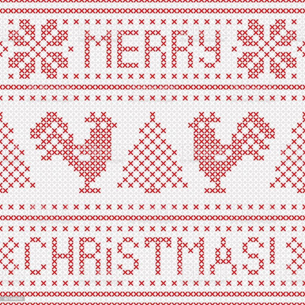 Embroidery Christmas card with cross stitch embroidered roosters. embroidery christmas card with cross stitch embroidered roosters – cliparts vectoriels et plus d'images de 2017 libre de droits