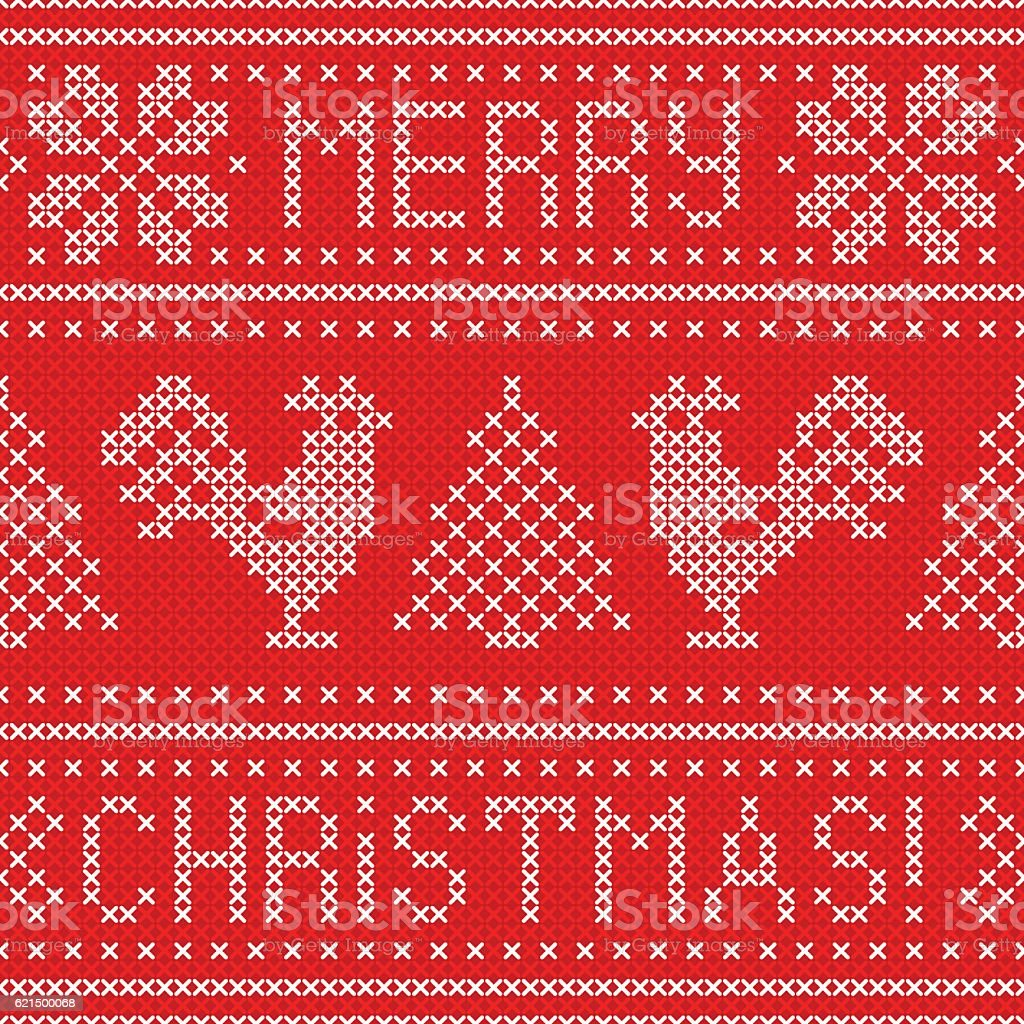 Embroidery Christmas card with cross stitch embroidered roosters. Lizenzfreies embroidery christmas card with cross stitch embroidered roosters stock vektor art und mehr bilder von 2017