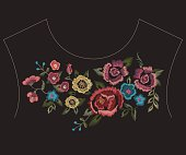 Embroidery colorful ethnic neck line pattern with simplified flowers. Vector traditional folk floral design on black background for fashion wearing.
