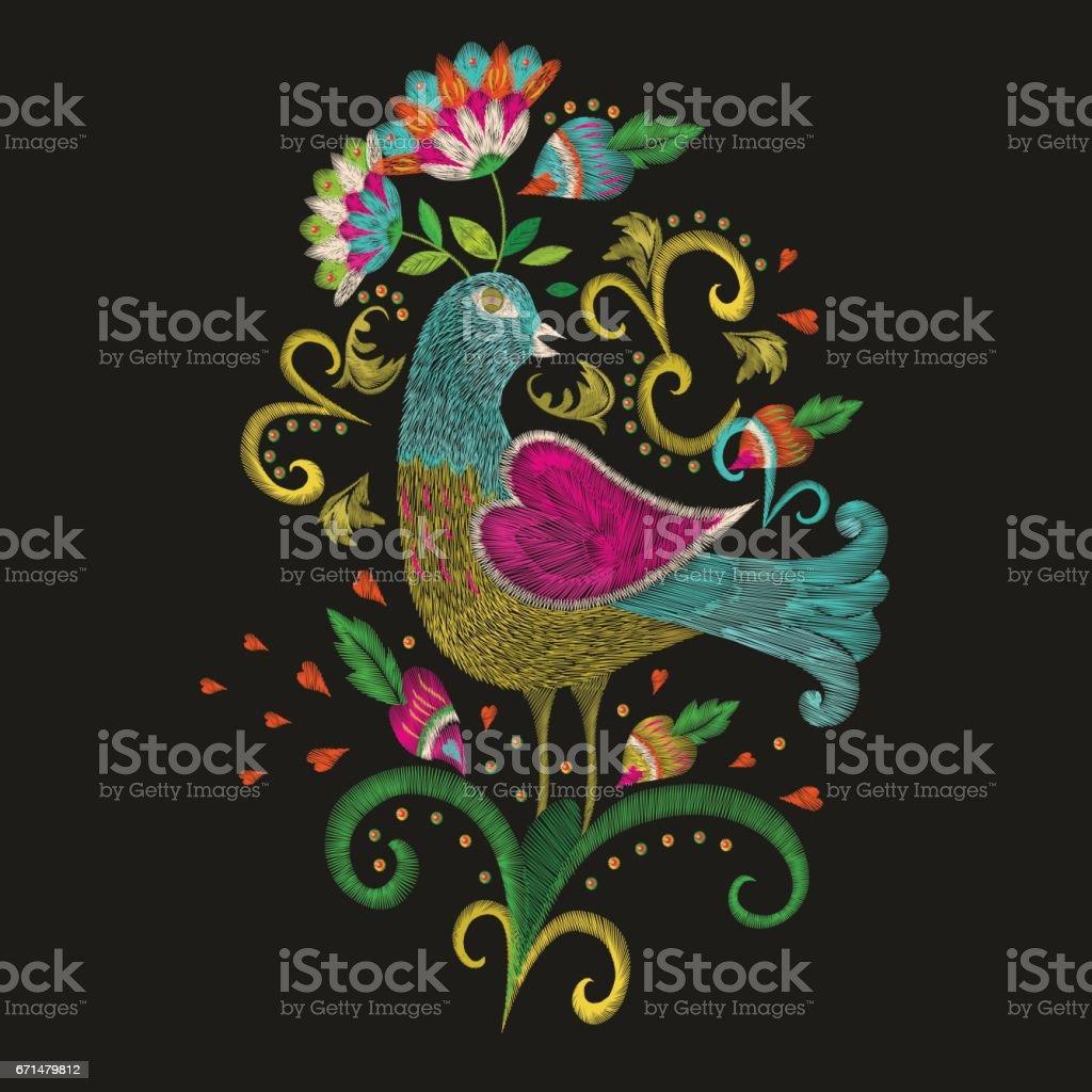 Bordados étnico padrão colorido no pássaro folclórico tradicional com flor. - ilustração de arte em vetor