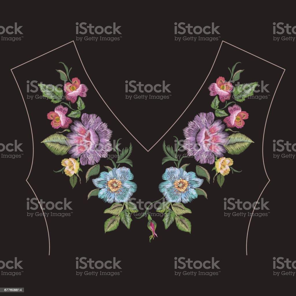Patrón Del Bordado Moda Colorido étnico Cuello Línea Floral Con ...