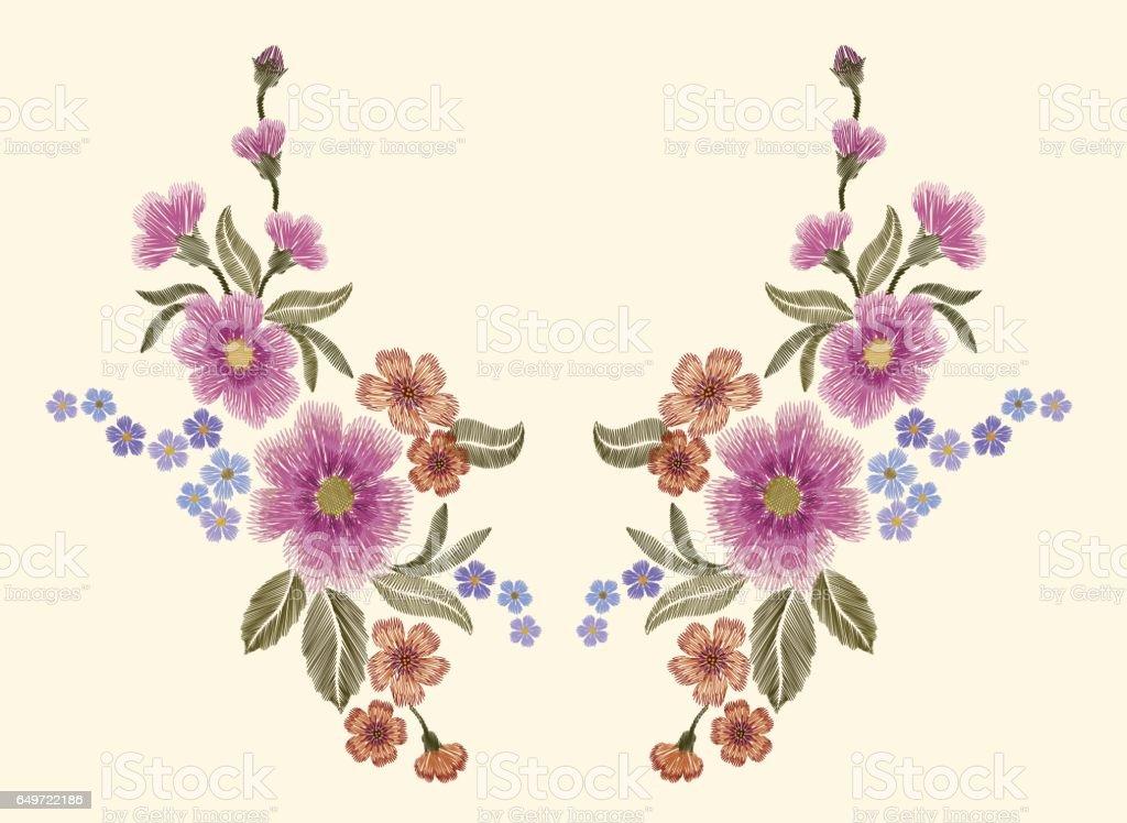 Ilustración de Flores Paisley De Colorido Floral Parche Bordado y ...