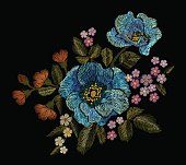 Embroidery colorful floral patch with blue poppy and daisy paisley flowers