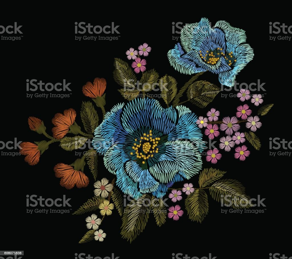 Embroidery colorful floral patch with blue poppy and daisy paisley flowers vector art illustration