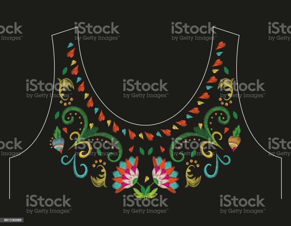 Ilustración de Cuello Colorido Bordado Línea Patrón Floral Con ...