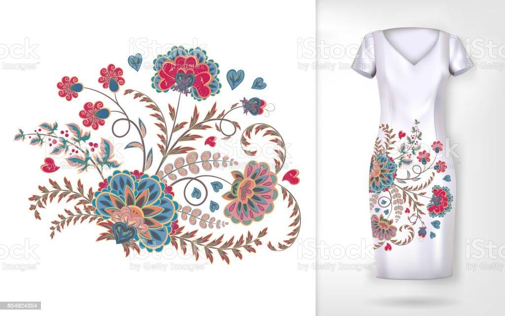 Ilustración de Patron Para Bordar Colores Tendencia Floral Patrón De ...