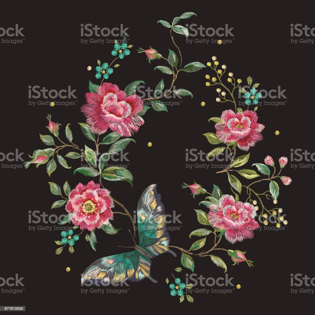 Embroidery colorful trend floral pattern with roses and  butterfly. royalty-free embroidery colorful trend floral pattern with roses and butterfly stock vector art & more images of art