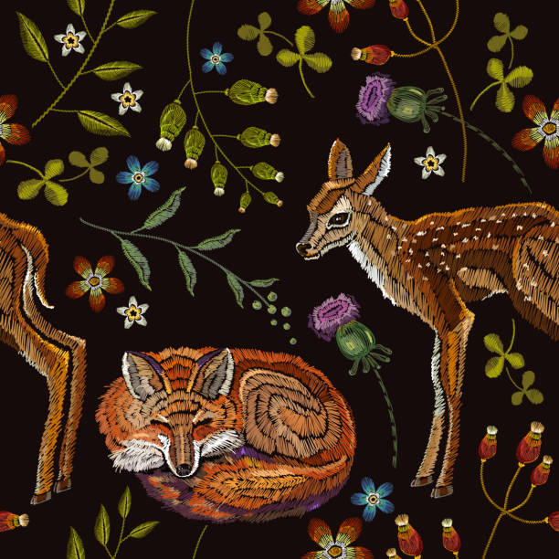 Embroidery deers and fox seamless pattern. Classical forest embroidery autumn leaves, spring flowers, deers outdoors seamless pattern. Template for design of clothes, t-shirt design vector art illustration