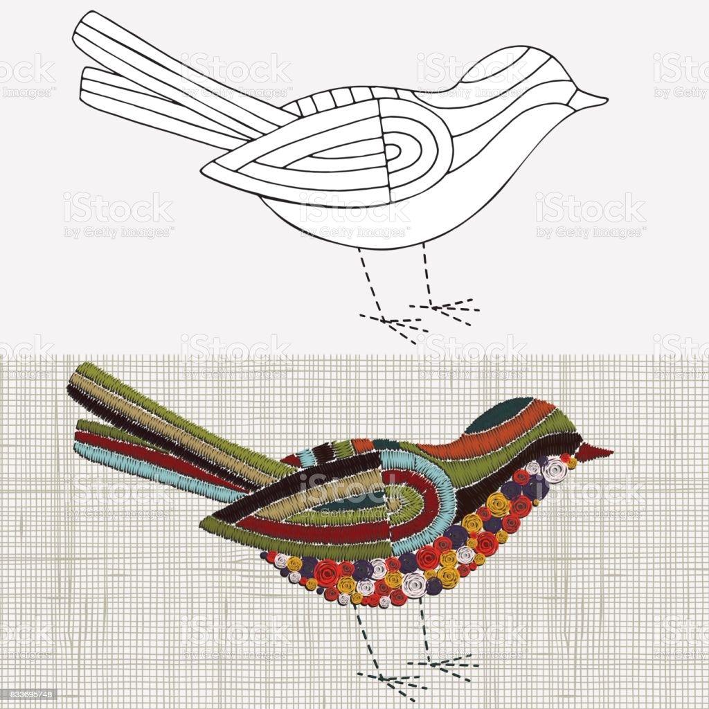 Ilustración de Diseño De Bordado Aves Tempale De Blanco Y Negro ...