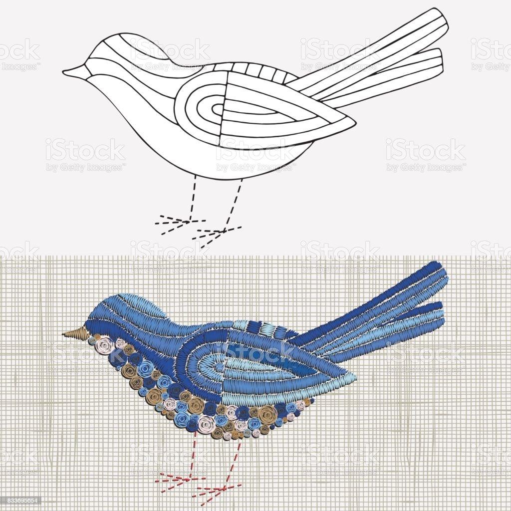 Ilustración de Diseño De Bordado Pájaro Azul Tempale De Blanco Y ...