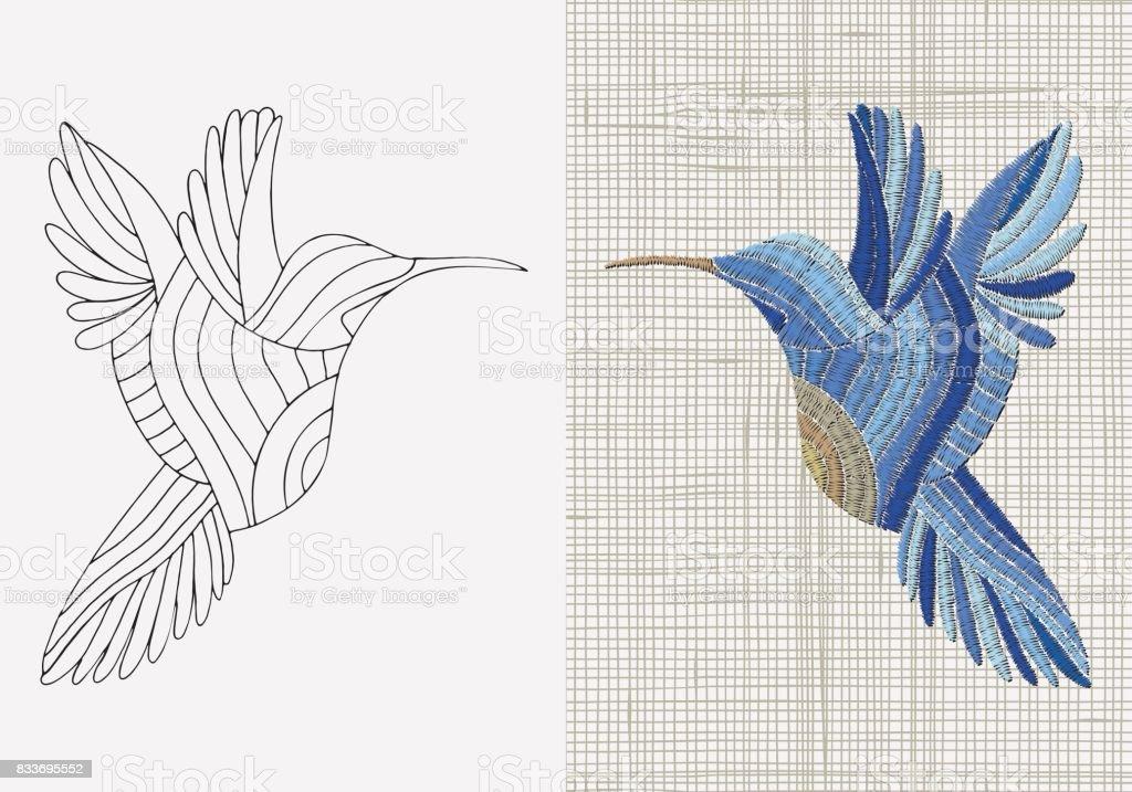 Ilustración de Diseño De Bordado Pájaro Azul Sunbird Tempale De ...