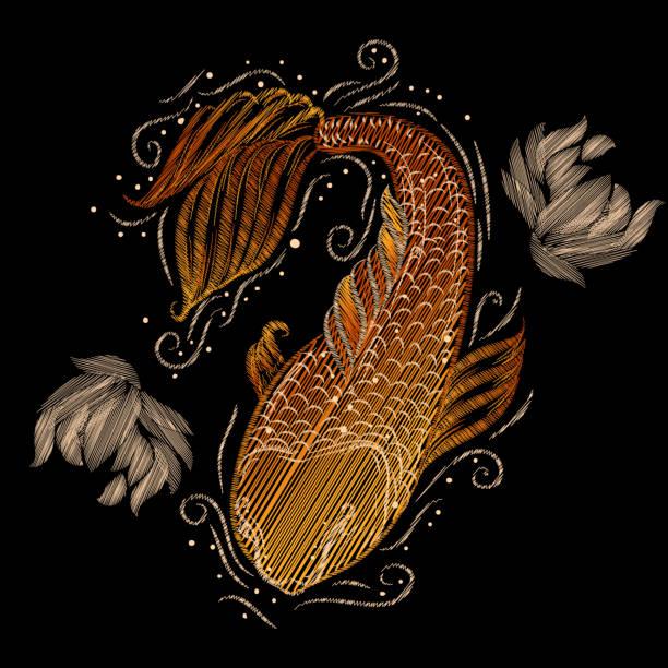 ilustraciones, imágenes clip art, dibujos animados e iconos de stock de elemento de diseño de bordado con la carpa koi y peonías. - calendario de naturaleza
