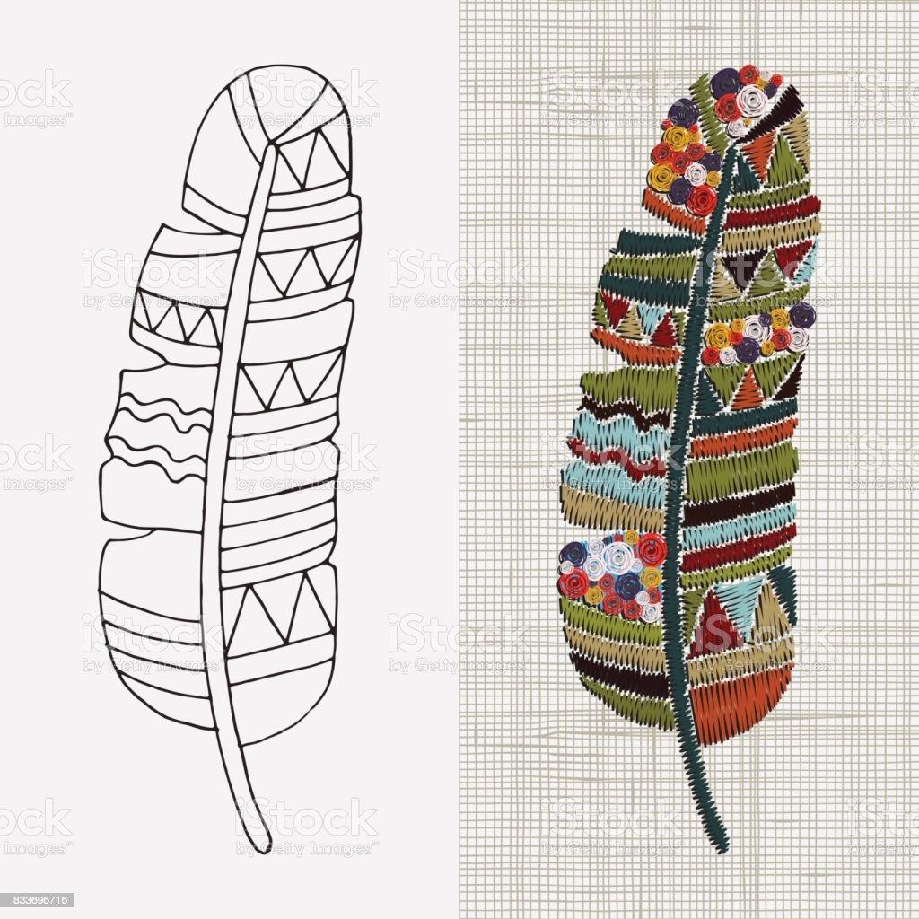 Ilustración de Diseños De Bordado Pluma Arte Colorido Aro Boho ...