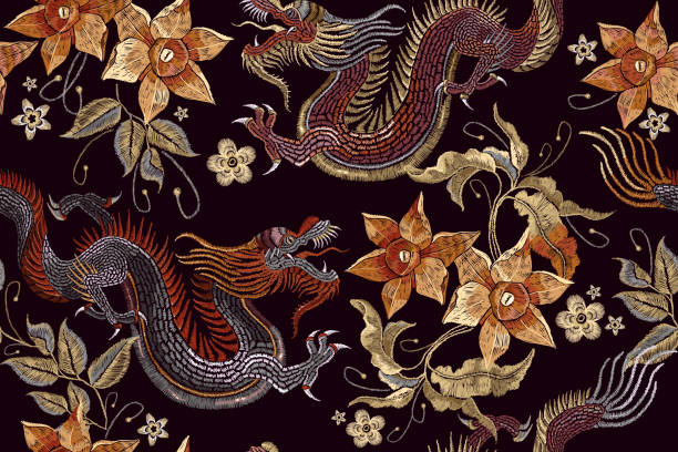 Embroidery dragons and flowers seamless pattern. Classical embroidery Asian dragon and beautiful vintage flowers seamless pattern. China dragons vector vector art illustration