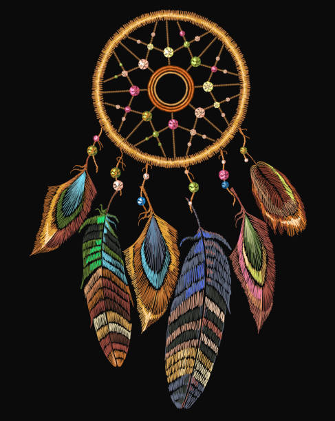 Embroidery dreamcatcher boho native american indian talisman dreamcatcher. Clothes ethnic tribal design. Magic tribal feathers. Fashionable template for design of clothes vector art illustration