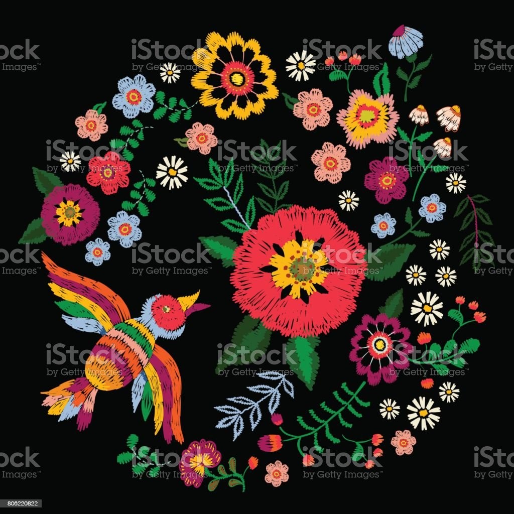 Embroidery ethnic colorful pattern with bird and fantasy flowers. vector art illustration