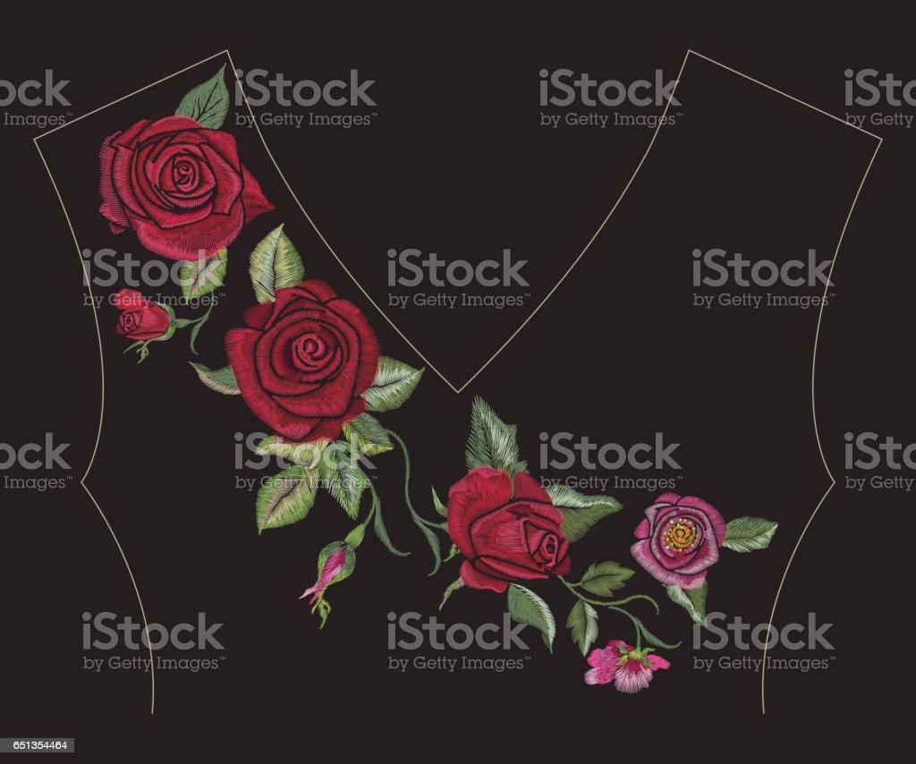 Patrón De Bordado Cuello étnico Línea Floral Con Línea De Rosas ...