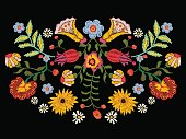 Embroidery ethnic pattern with colorful flowers.