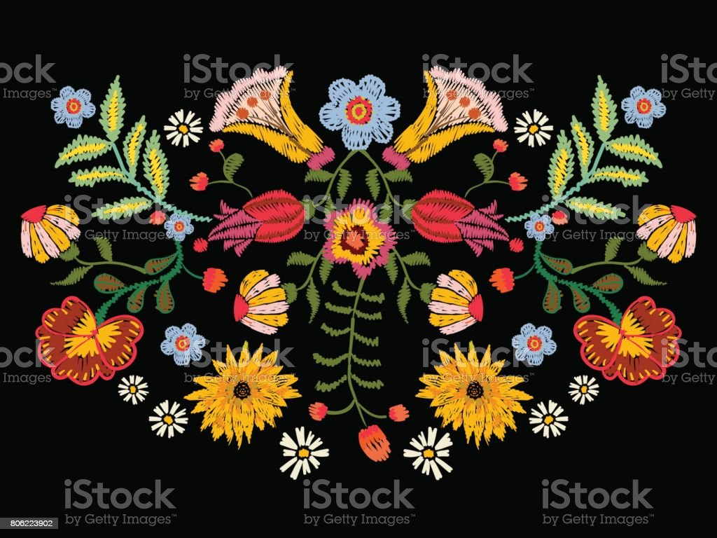 Embroidery ethnic pattern with colorful flowers. vector art illustration