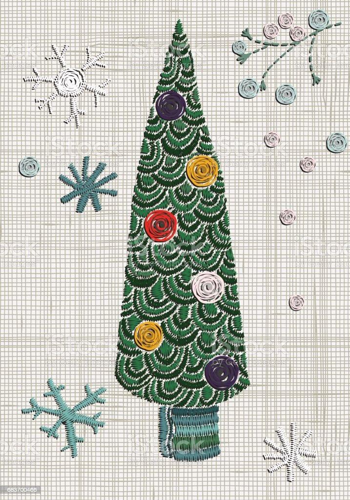 Ilustración de Árbol De Navidad De Lujo Del Bordado Y Los Copos De ...