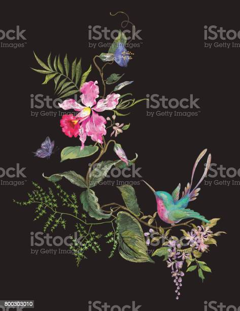 Embroidery fashion pattern with hummingbird orchids and butterfly vector id800303010?b=1&k=6&m=800303010&s=612x612&h=dqzhn6l eihrky43mmdmmaayo1m7gnsdp6dshprkuz0=