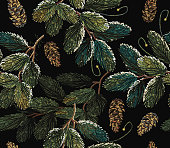 Embroidery fir-tree branch with cones. Merry Christmas classical embroidery snow-covered branch of a fir-tree. Christmas art pattern. Clothes, textile design template