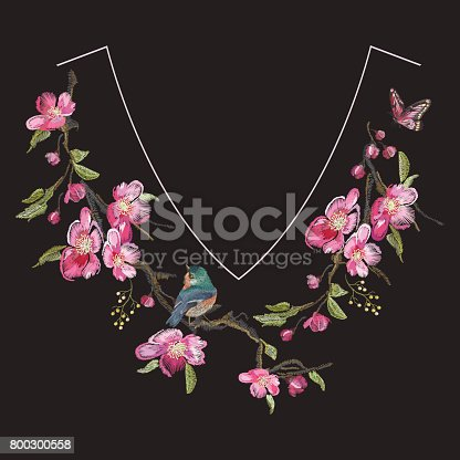 Embroidery floral neck line pattern with oriental cherry blossom and varied titmouse.