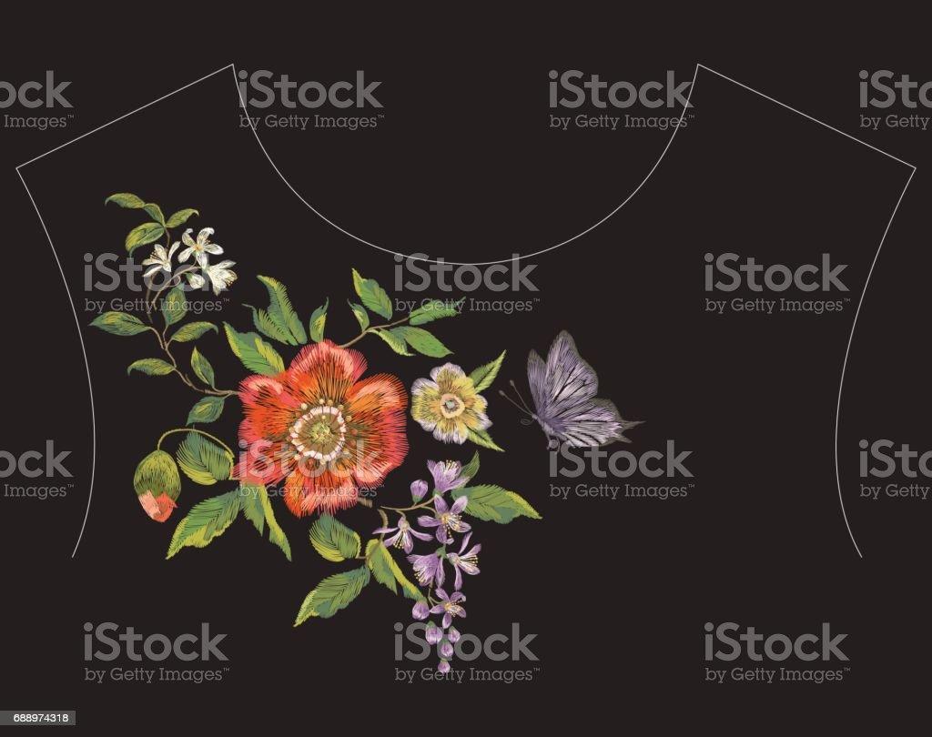 Patrón De Línea Del Bordado Cuello Floral Con Amapolas Lila Y ...