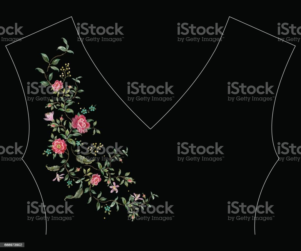 Ilustración de Patrón De Línea Del Bordado Cuello Floral Con Flor De ...